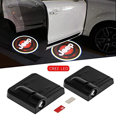 2pc Wireless Drill Free Easy Install Car Door LED Projector Courtesy Welcome Logo Ghost Shadow Light Magnet Sensor for Eagle American Flag Infiniti Cadillac Dooge Jeep (JEEP): Automotive