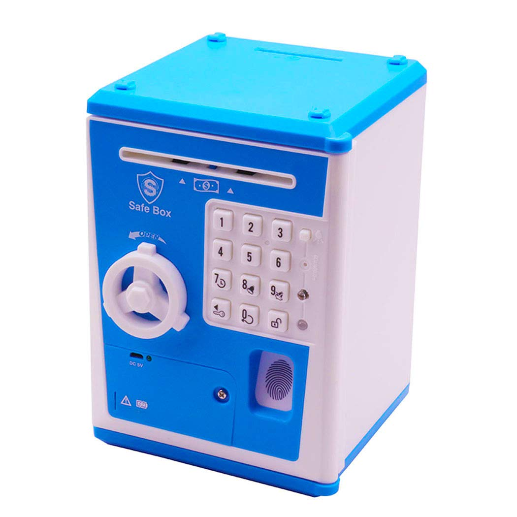HSTYAIG Piggy Bank, USB Rechargeable ATM Password Cash Coin Bank Auto Scroll Paper Money Saving Box for Children Fun Toy (Blue) by HSTYAIG