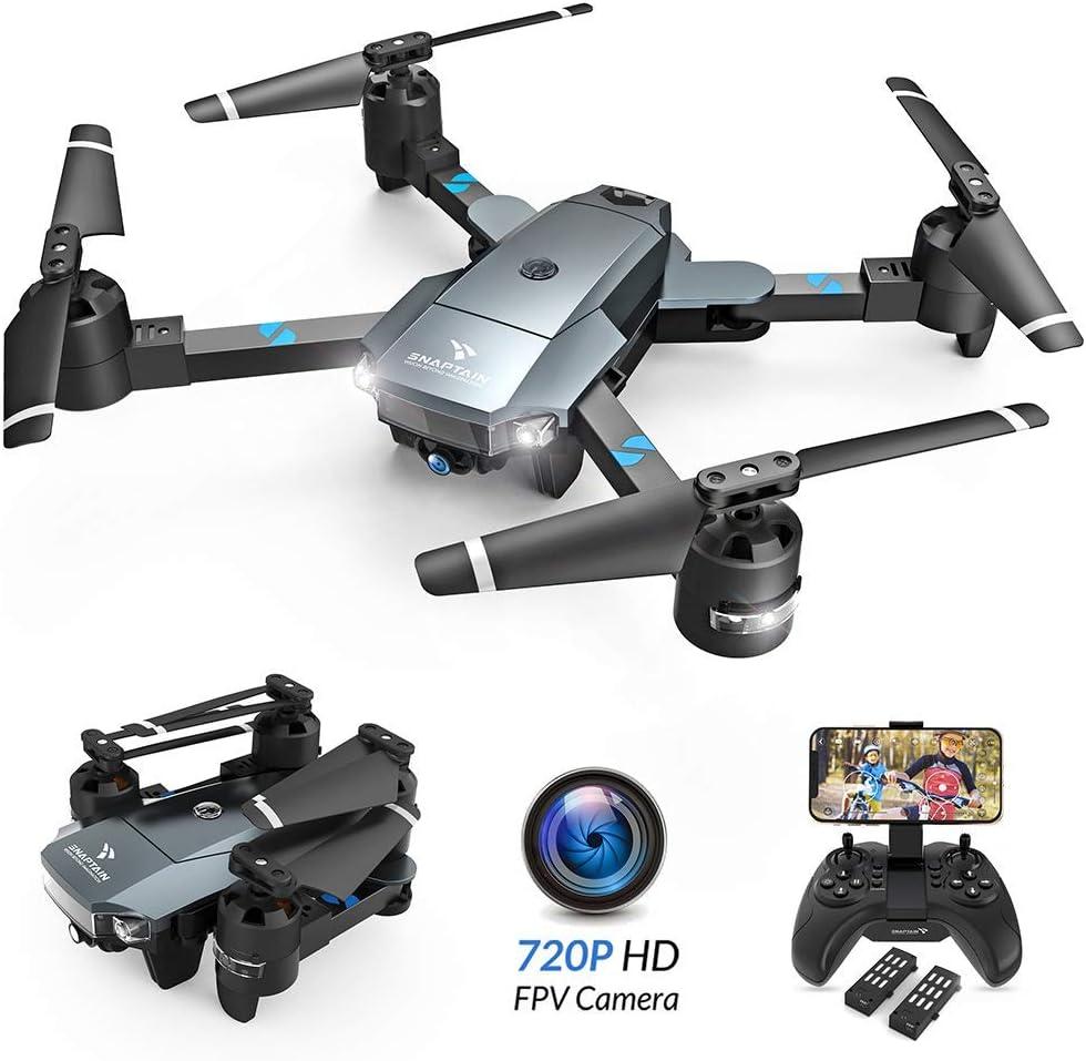 SNAPTAIN A15H Foldable FPV WiFi Drone w/Voice Control/120°Wide-Angle 720P HD Camera/Trajectory Flight/Altitude Hold/G-Sensor/3D Flips/Headless Mode/One Key Return/2 Modular Batteries/App Control