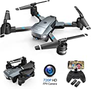 SNAPTAIN A15 Foldable FPV WiFi Drone w/Voice Control/120°Wide-Angle 720P HD Camera/Trajectory Flight/Altitude Hold/G-Sensor/