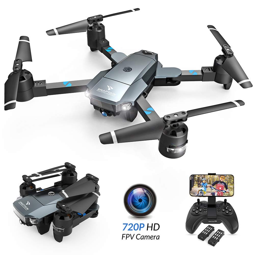 SNAPTAIN A15 Foldable FPV WiFi Drone w/Voice Control/120°Wide-Angle 720P HD Camera/Trajectory Flight/Altitude Hold/G-Sensor/3D Flips/Headless Mode/One Key Return/2 Modular Batteries/App Control