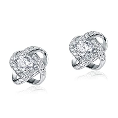 5a285fdfb Image Unavailable. Image not available for. Color: Unique 925 Sterling Silver  Studs Pure Cubic Zirconia ...