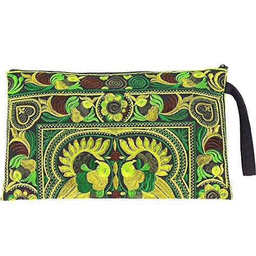 Sabai Jai - Embroidered Clutch Purse with Wristlet - Large Boho Purses and Handbags ()