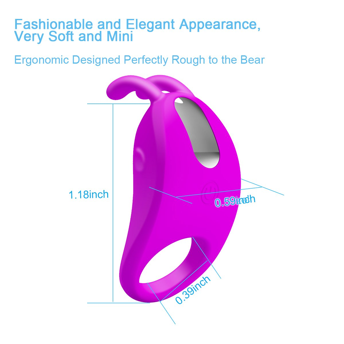 Silicone Vibrating Ring Rabbit Vibrator Cordless Rechargeable Wand Massager (Purple)