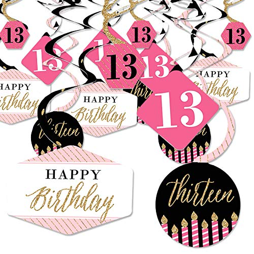 Chic Swirl - Chic 13th Birthday - Pink, Black and Gold - Birthday Party Hanging Decor - Party Decoration Swirls - Set of 40