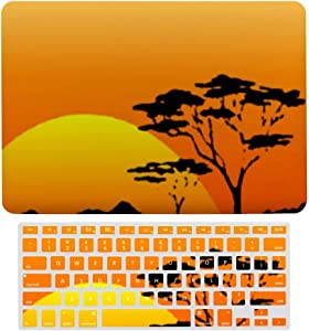 MacBook Air 13 Inch Case(A1369 & A1466, Older Version 2010-2017 Release), Plastic Hard Protective Laptop Case Shell with Keyboard Cover, Beautiful African Safari Orange Sunset