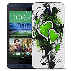 New Hard Printed BEAU ARTS Cover for HTC Desire 610 case - green double heart & Stylus by ruishername