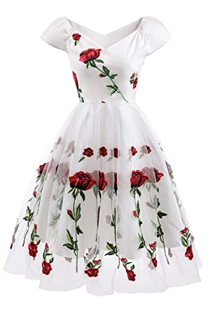 fe518f93787 MILANO BRIDE Women s Retro Floral Print Sleeveless Hebburn Evening Party  Swing Dresses-XL-White