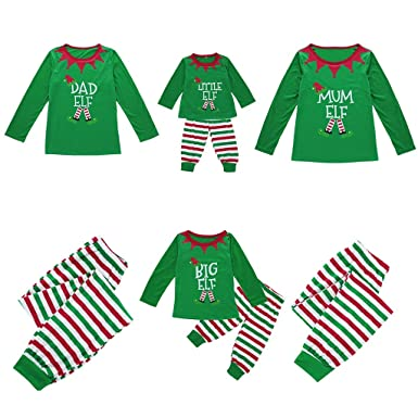 Matching Family Sleepwear Christmas ELF Printing Letters Pajamas Set with  Green Striped Pants A14 at Amazon Women s Clothing store  31343e5c1