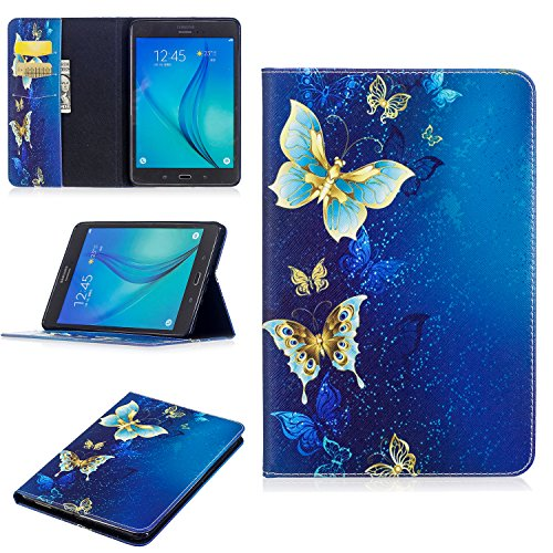 Galaxy Tab A 8.0 2015 Case, SM-T350 Case, Dteck Protective PU Leather Wallet Case with [Card Slots] Cute Flip Folio Stand Book Cover for Samsung Galaxy Tab A 8 (SM-T350) Tablet-Four Butterflies