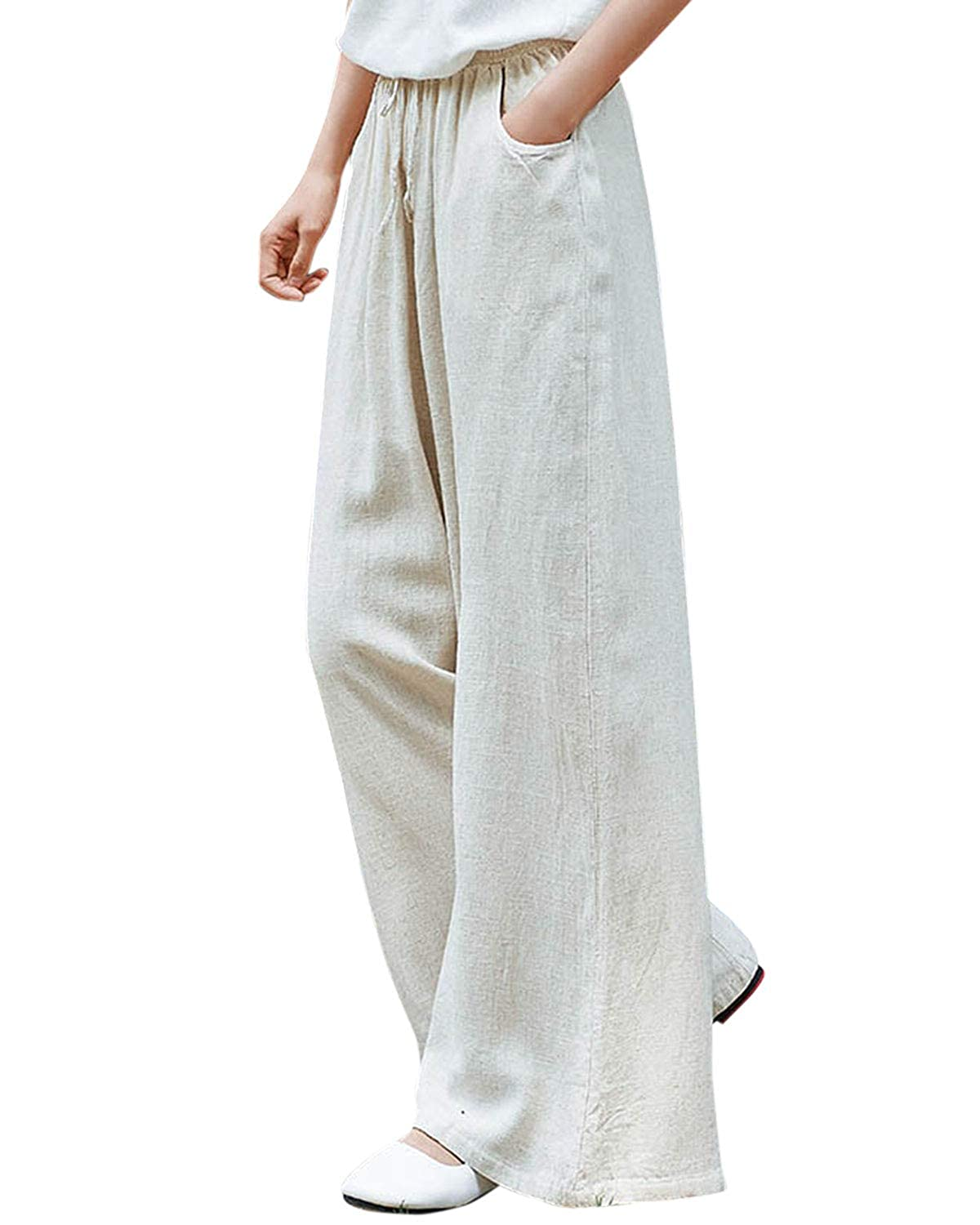 baby coupon code discount price Aeneontrue Women's Cotton Linen Wide Leg Pants Casual High Waist Drawstring  Trousers with Pockets