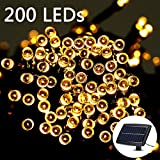 Weanas 200 LEDs Solar Power Fairy String Lights Warm White Solar Energy 72 feet 22M for Indoor/Outdoor