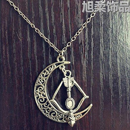 (Huangwiglass Artemis Necklace - Crescent Shape, Angel Ring, Arrow and Bow, Antique Bronze)