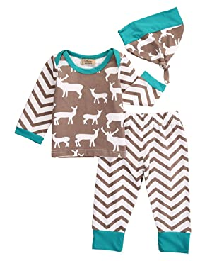 Kids Girl Boy Deer T-shirt+Stripe Pants Hat 3pcs Baby Coming Home Outfits Set (9-12 Months)
