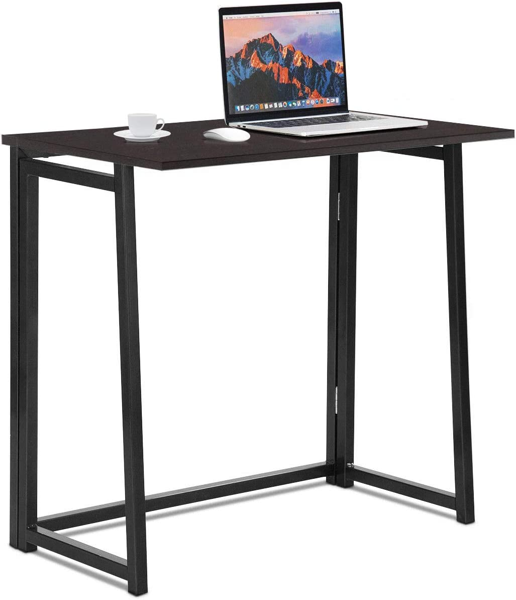 Tangkula Folding Desk, No Assembly Small Foldable Computer Desk, Home Office Laptop Table Writing Desk, Compact Study Reading Table for Small Space (Coffee)
