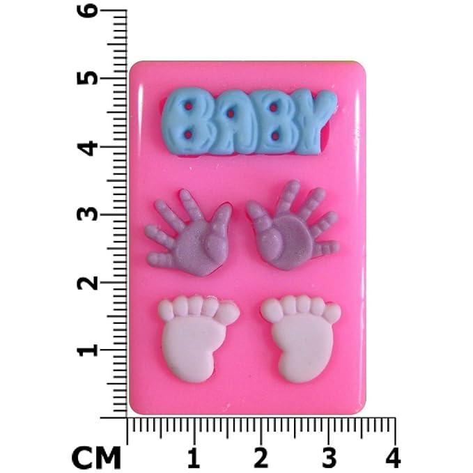 Manos y pies del bebé Molde de silicona para la torta de ...