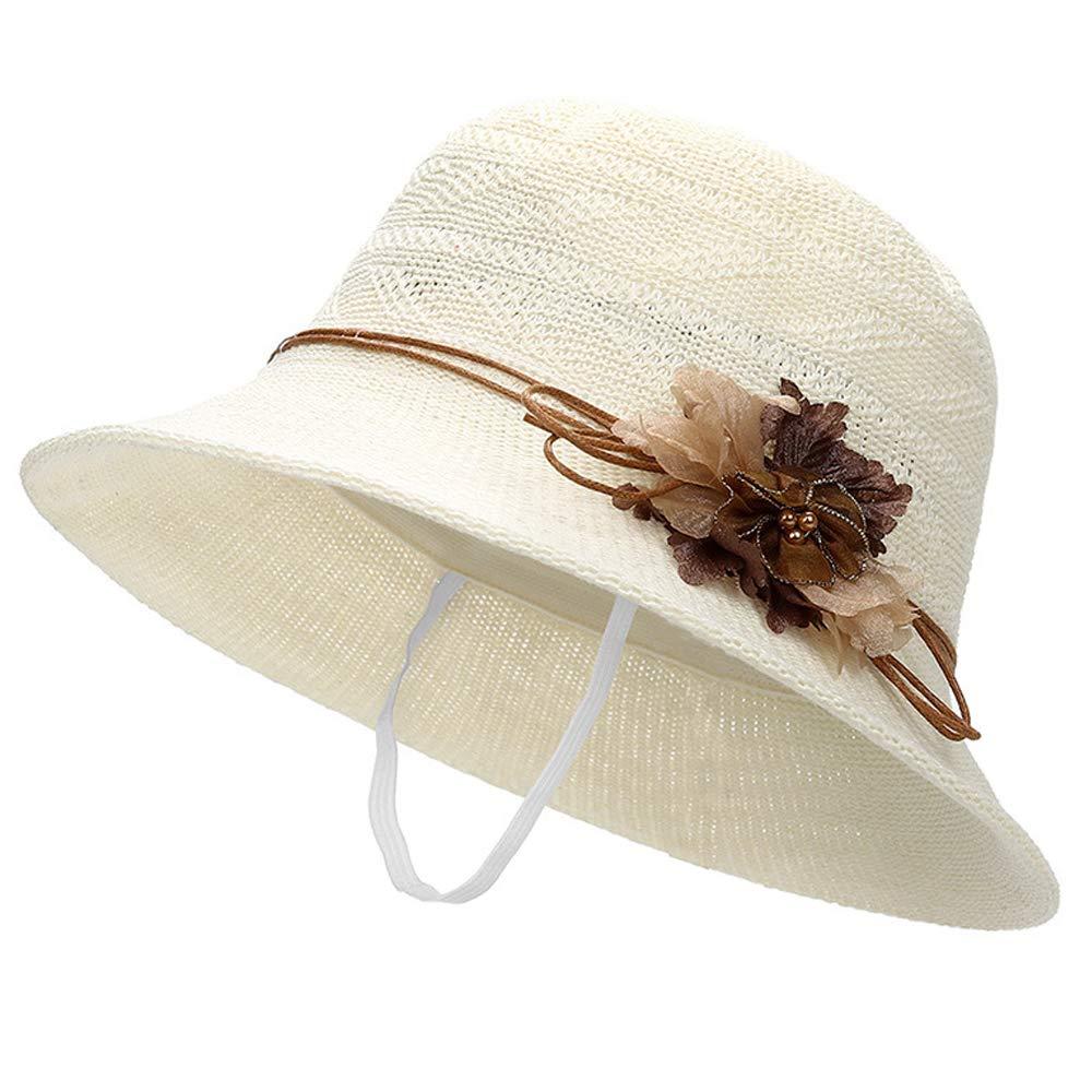 Womens UPF50 Wide Brim Fedora Beach Sun Hat with Flower and Drawstring