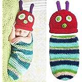 candora ™ Newborn Baby Boy Mädchen Beanie Crochet Raupe Nimmersatt Hat Set Party Kostüm Foto Requisiten