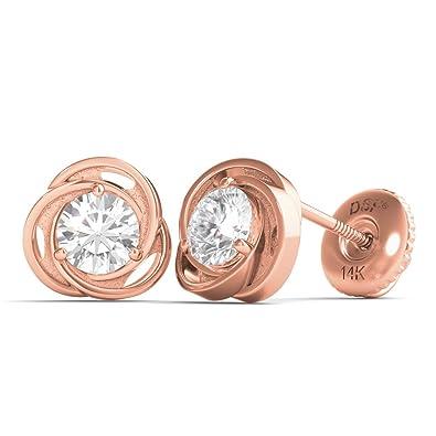 0c422f97f Amazon.com: Diamond Studs Forever 14K Rose Gold Solitaire Diamond Earrings ( 1/2 Ct tw, IGI USA Certified GH/I1): Jewelry