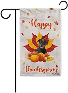 BAGEYOU Happy Thanksgiving Day with My Lover Dog Rottweiler Garden Flag Harvest Season Pumpkin Maple Leaf Fall Decor Home Banner for Outside 12.5x18 Inch Print Both Sides