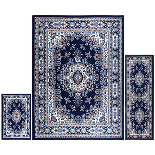 Home Dynamix Area Rugs - Ariana Collection 3-Piece Living Room Rug Set - Ultra Soft & Super Durable Home Decor - 7069-300 Navy Blue