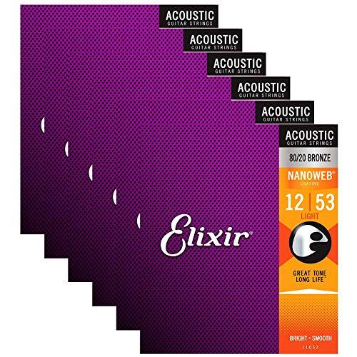 Elixir 80/20 Bronze Nanoweb 11052 Light 12-53 Acoustic Guitar Strings 6-Pack w/Bonus Elixir Polishing Cloth
