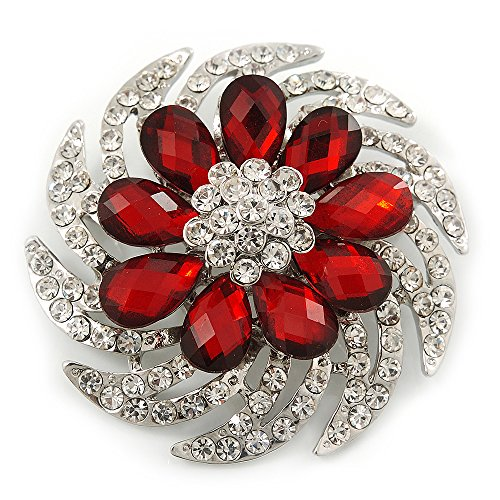 Avalaya Dimensional Clear/Ruby Red Coloured Crystal Corsage Brooch In Rhodium Plating - 5cm Diameter