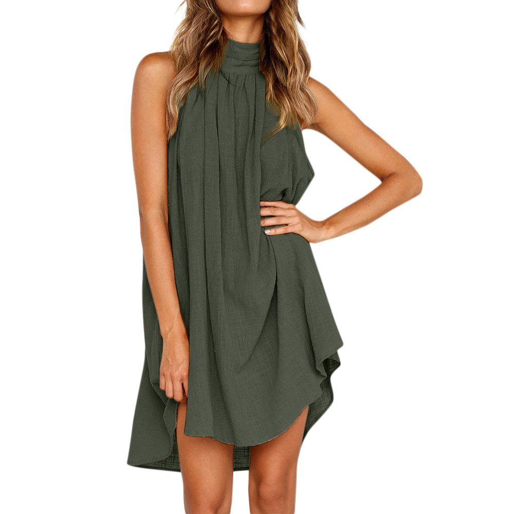 BingYELH Women Boho Solid Sleeveless Mini Dress Beach Dress Irregular Wedding Party Dress Backless Holiday Sundress Green