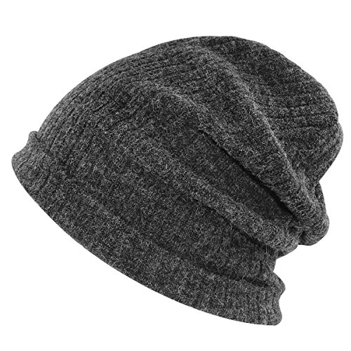 Beanie Winter Ski Baggy Slouchy Hat Unisex Black (Fleece Toque)