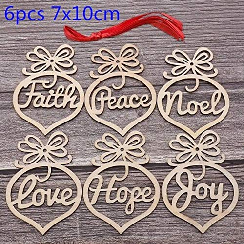 JEWH Christmas Wooden Pendants - DIY Wood Crafts Star&Heart - Xmas Tree Hanging Ornaments - Christmas Party for Kids - Gift Home Decorations (Stretch 1)