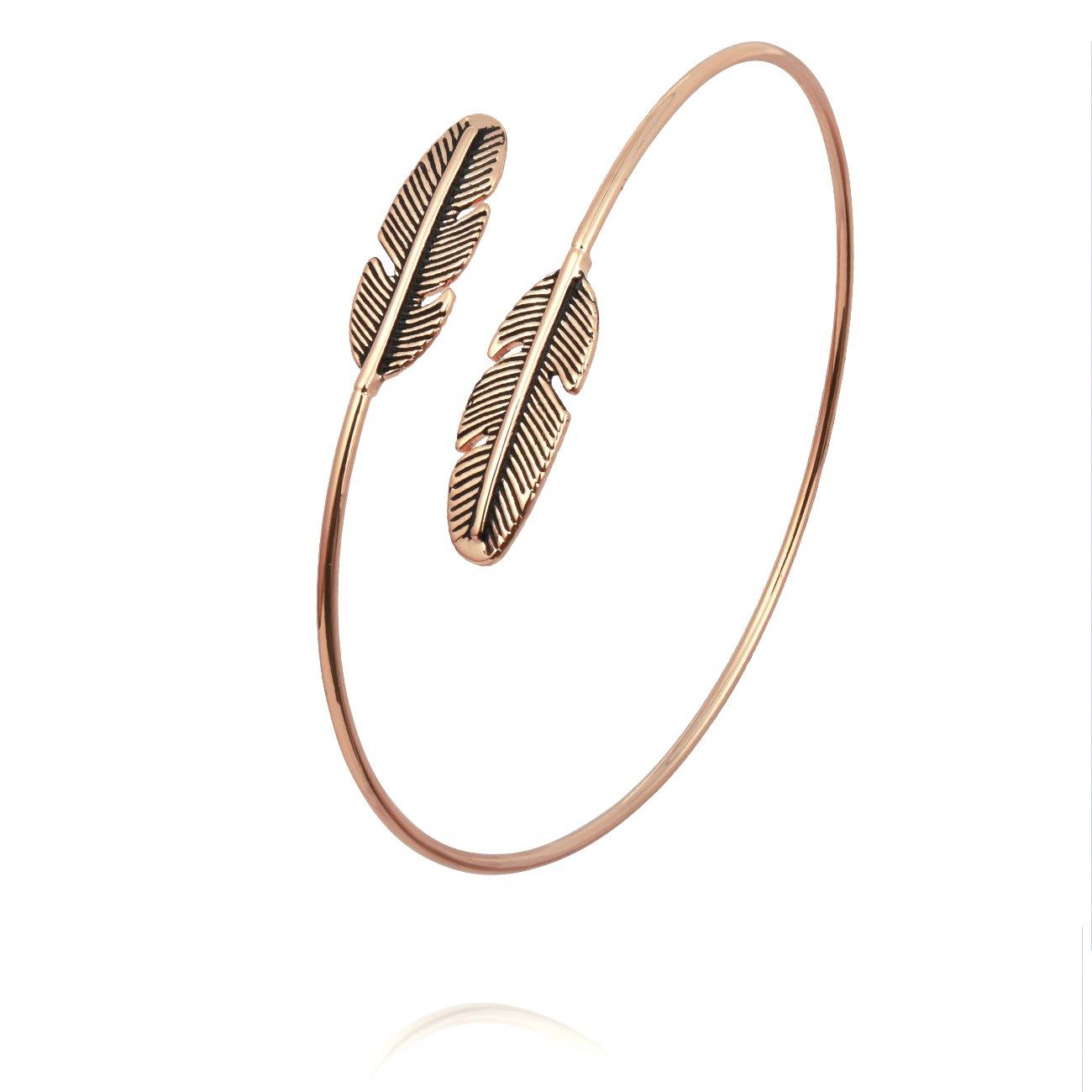 PANGRUI Antique Simple Feathers Charm Arm Bangle Bracelet