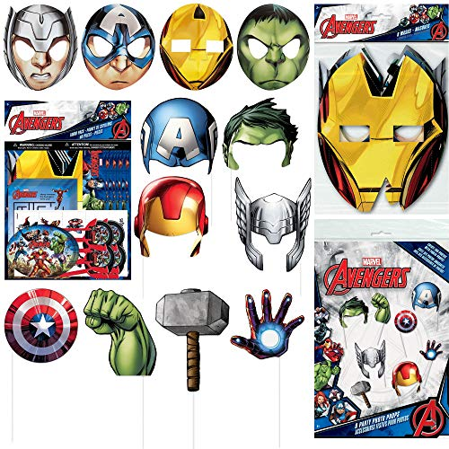 Unique Marvel's Avengers Movie Party Favor Bundle Officially Licensed by Unique | Photo Booth Props, Masks, Favors Pack | Great for Kids Birthday Party, Superhero Themed Event