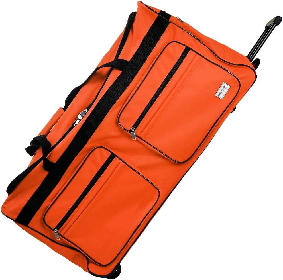 Deuba Bolsa de Viaje Deporte XXL Maleta Naranja 160 litros 85x43x44 3 Ruedas 5 pies Mango telescópico extraíble Viajes
