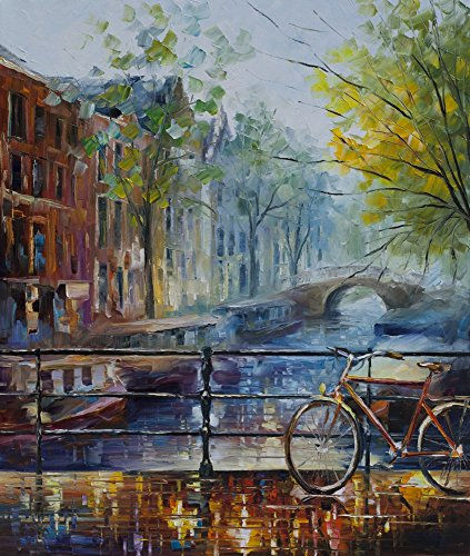Leonid Afremov Original Image From Painting Bicycle In Amsterdam Print On Artistic Cotton Canvas, Size: ()
