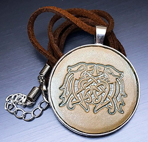 [Celtic Dragons Hand-Painted Tooled Veg Tanned Leather Pendant Necklace] (Larp Costumes Uk)