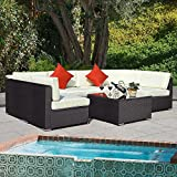 New Brown, Outdoor 7PC Furniture Sectional PE Wicker Patio Rattan Sofa Set Couch