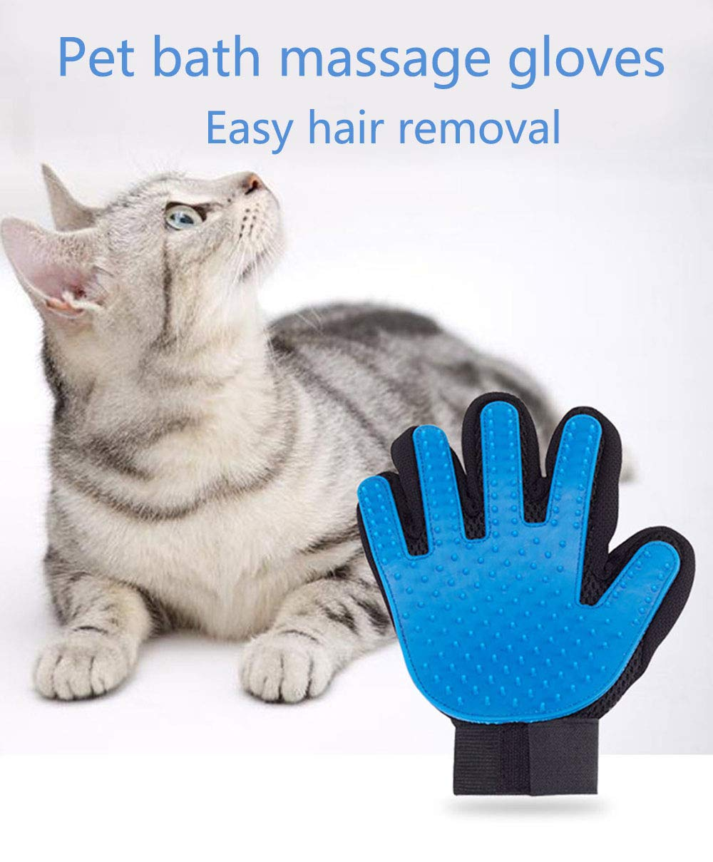 ZLBPET Pet Grooming Gloves Cat and Dog Massage Bath Brush Five-Finger Design Fully Cleaned Non-Toxic Silicone Easy Hair Removal Suitable for Cats Dogs Horses and Rabbits,Blue,Left