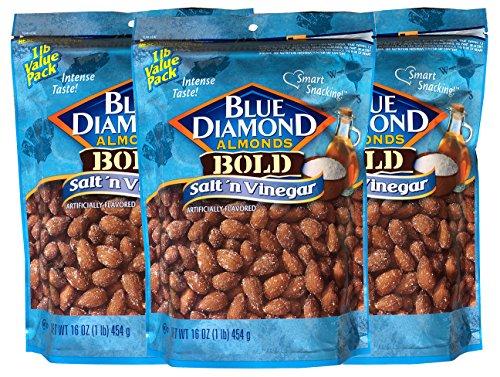 Blue Diamond Almonds Bold Salt and Vinegar 16-Ounce Bag (Pack of 3 Bags)
