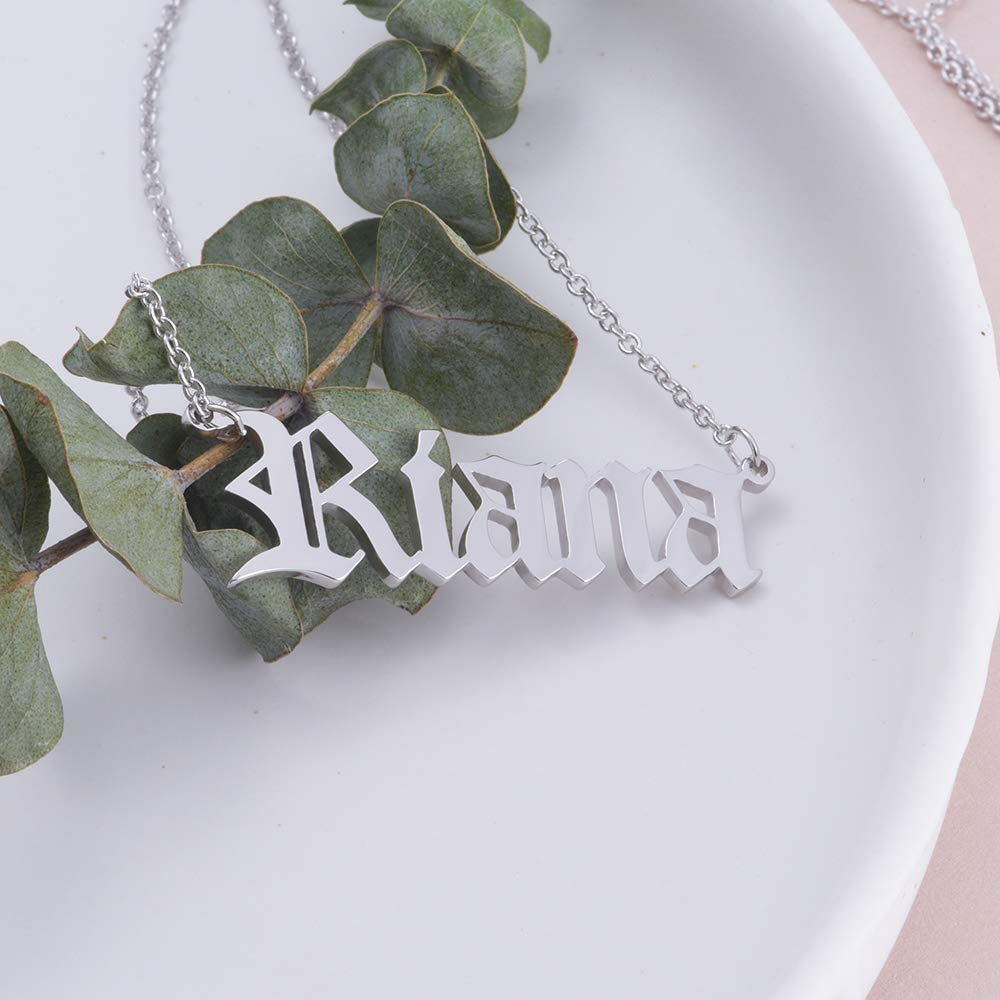 Bilingouy Old English Sterling Silver Custom Necklace Initial Letter Name Pendant Necklace Jewelry