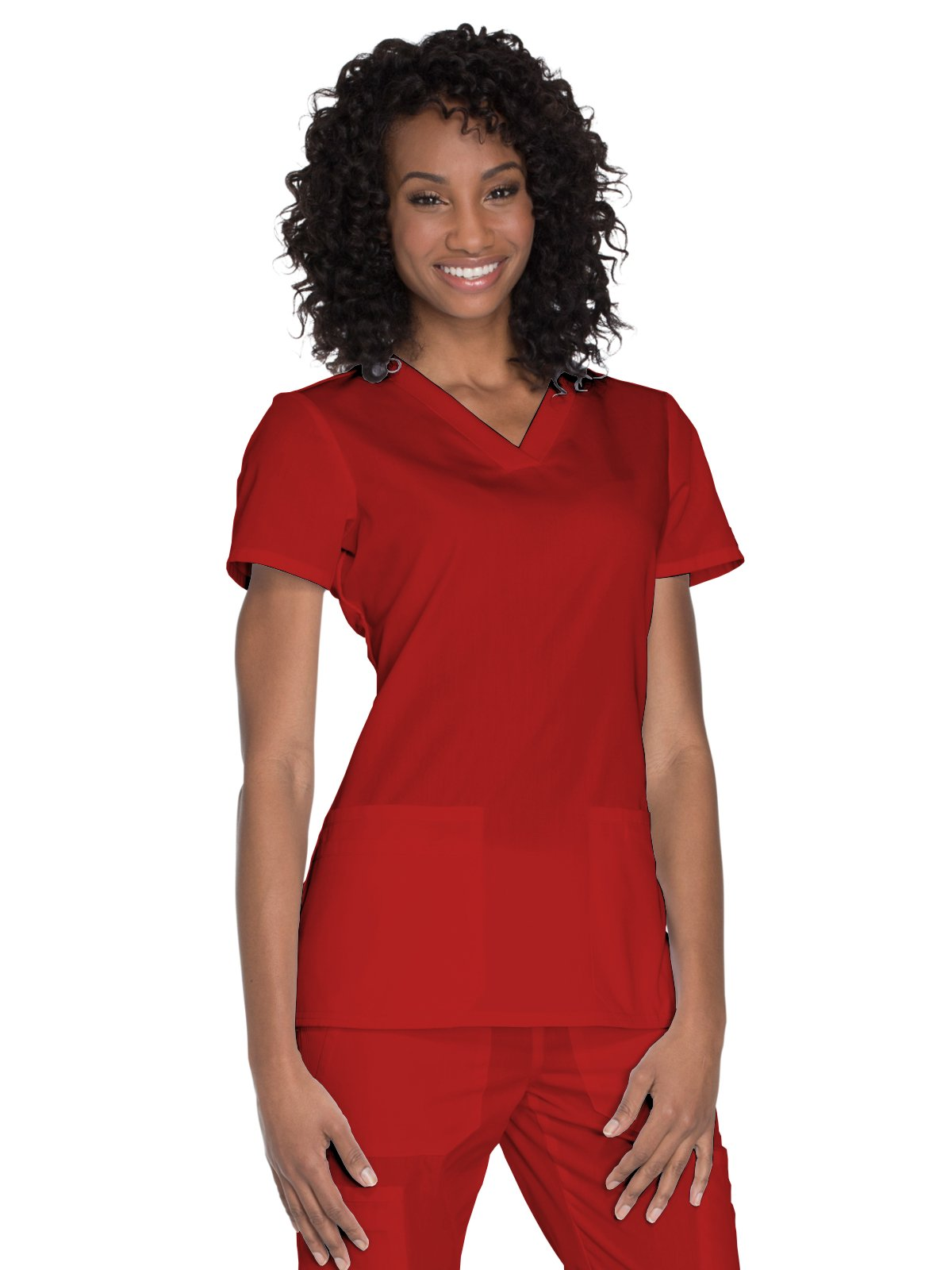 Cherokee Workwear Originals Women's Knit V-Neck Solid Scrub Top XXXXX-Large Red