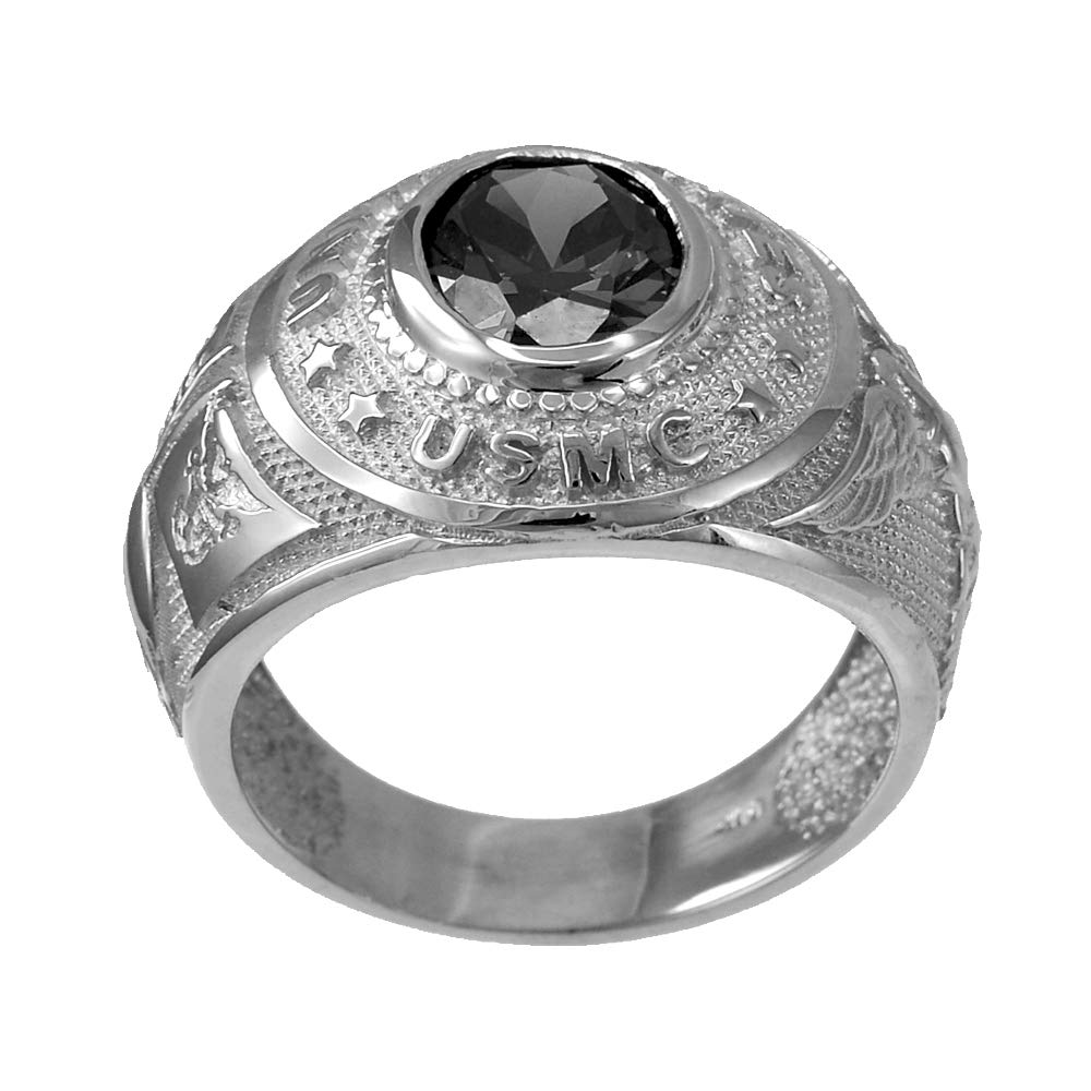 Mens Sterling Silver US Marine Corps USMC Birthstone CZ Ring (August, Size 8)
