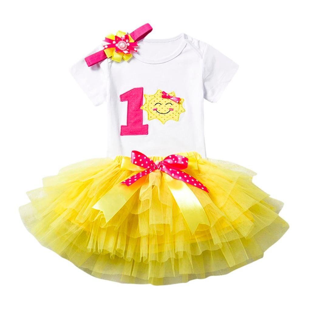 Kingko_ Newborn Baby Infant Toddler Girls My 1st Birthday Cake Smash Shiny Printed Sequin Dress Princess Skirt with Headband Accessories 3pcs Outfit Set Photo Shoot (Yellow, 0-12 Months)