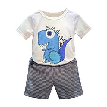 6b4612d0a902 Oubang Kids Boys Summer Suits Cotton Cute Little Dinosaur Style T-shirts  Shorts Suits  Amazon.co.uk  Sports   Outdoors