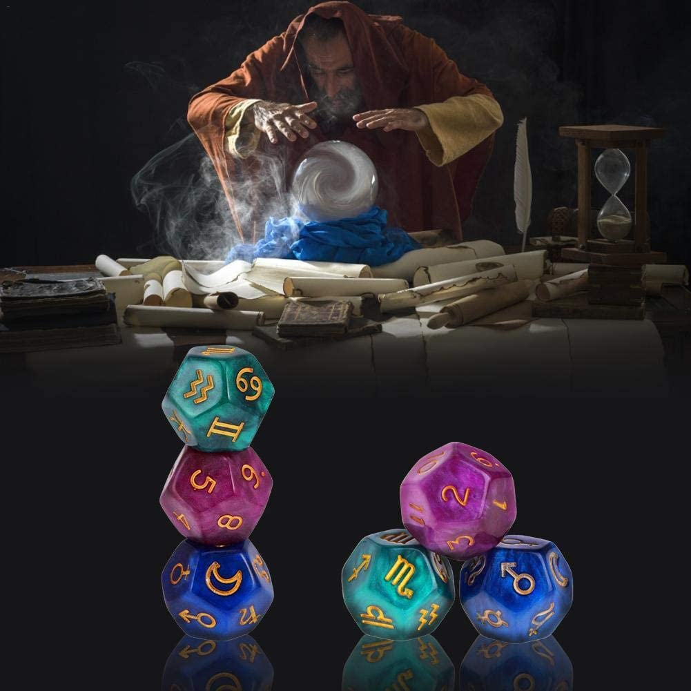 12 Sided Polyhedral Dice Toy dewdropy 3pcs Astrological Dice Fortune Telling Divination Tools