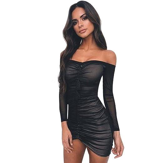 5487de208592e2 PENATE Women s Sexy Off Shoulder Long Sleeve Party Dress Solid Color Net Tassel  Tube Top Close