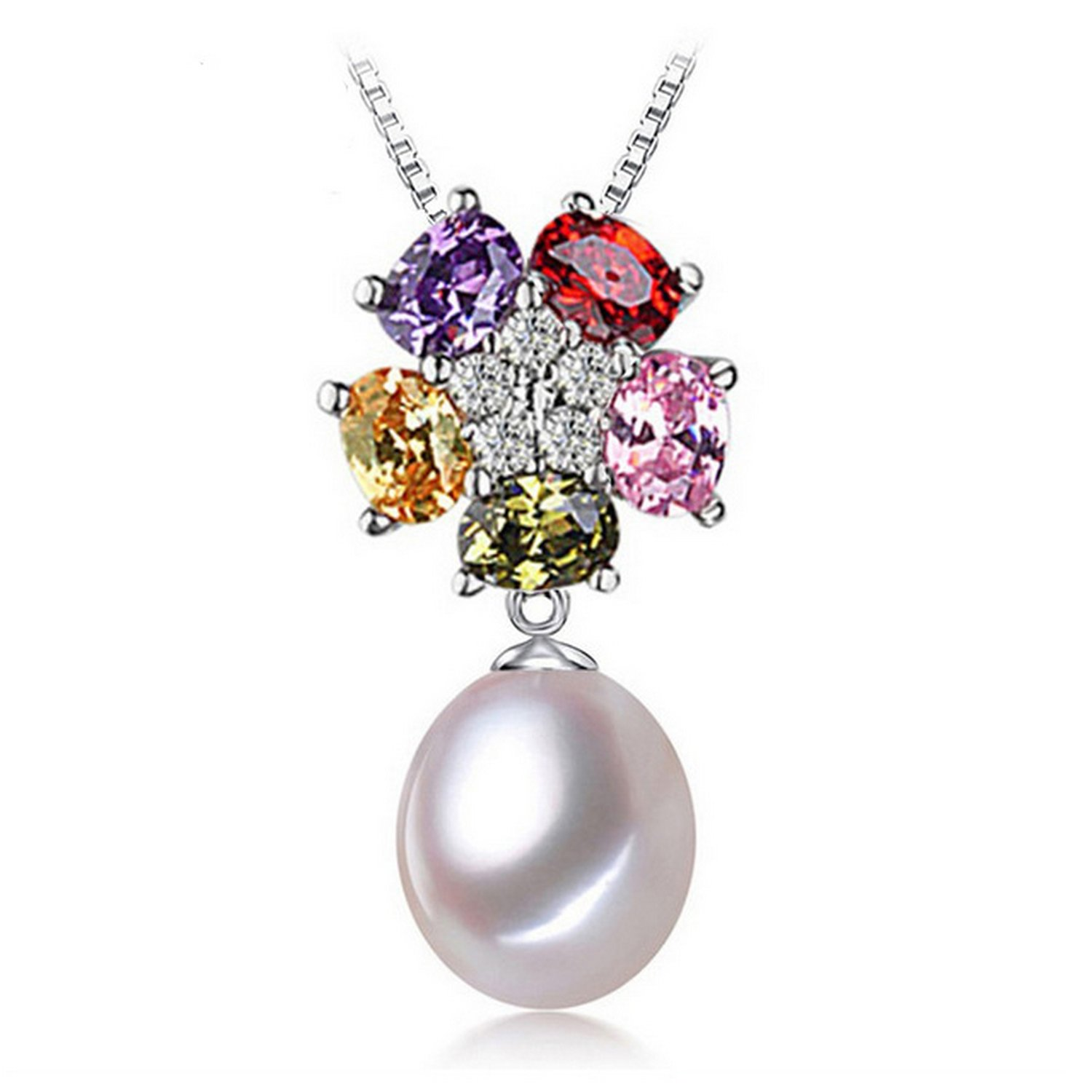 CS-DB Jewelry Silver Pearl White Pearl Chain Charm Pendants Necklaces