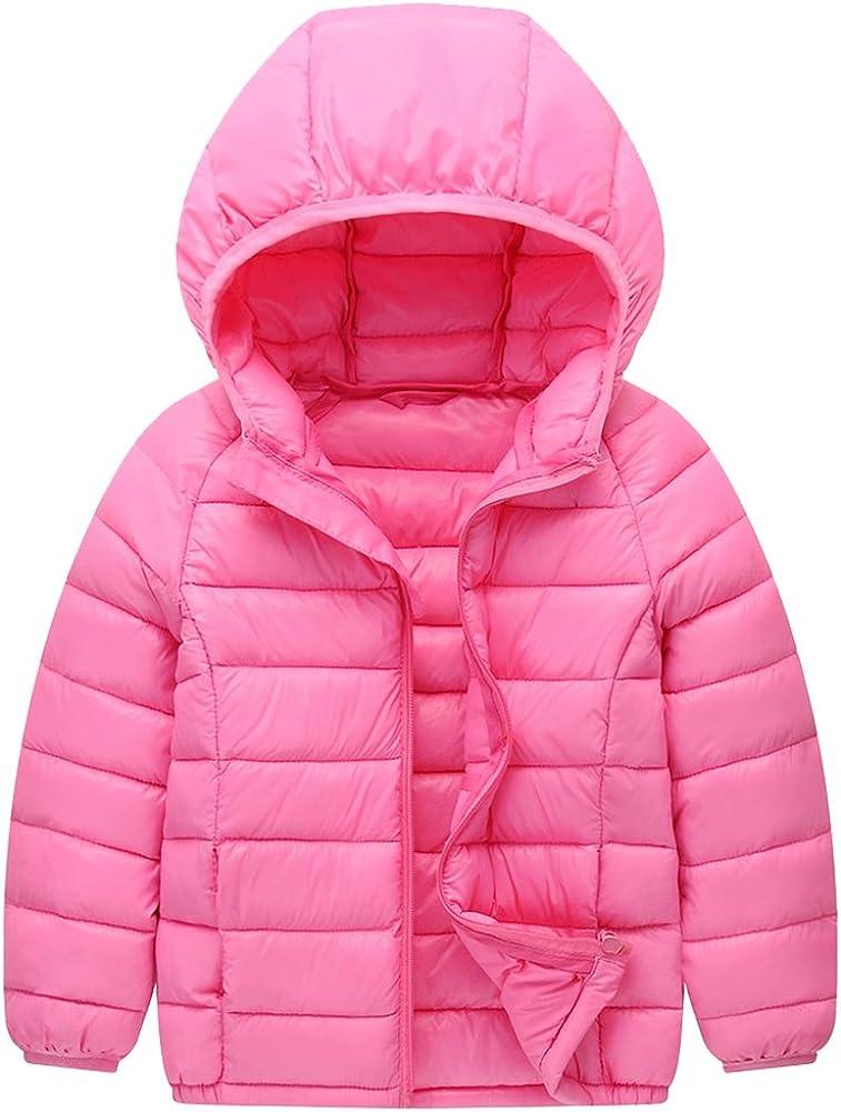 KISBINI Big Girls Windproof Thin Lightweight Warm Hoodies Zip Jacket Coat
