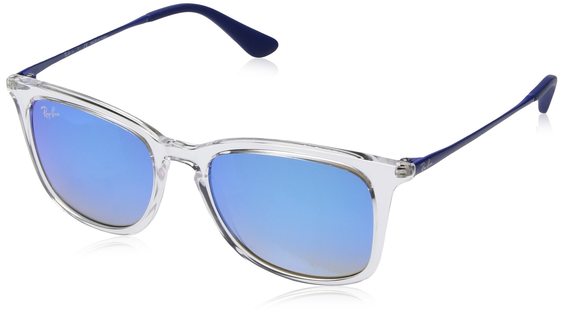 RAY-BAN JUNIOR Kids' RJ9063S Square Kids Sunglasses, Transparent/Blue Gradient Flash, 48 mm by RAY-BAN JUNIOR