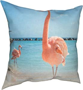 Throw Pillow Covers 18x18, One Flamingo Bird On Beach Decorative Pillow Covers for Couch, Sofa and Bed, Super Soft and Luxury Pillow Cases Covers, Square Pillow Covers