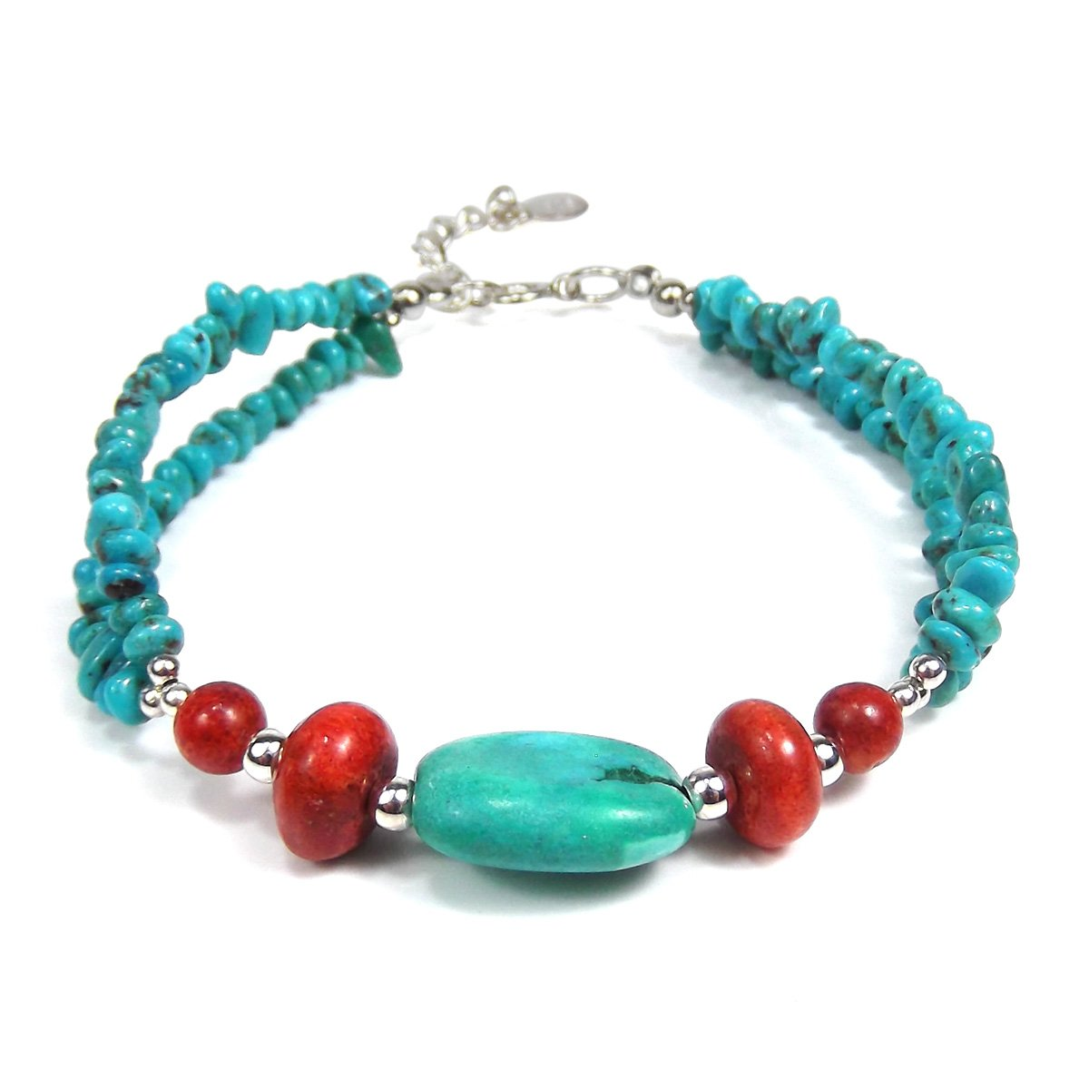 AeraVida Thai Karen Hill Tribe Fine Silver Simulated Turquoise & Reconstructed Red Coral Nuggets Bracelet